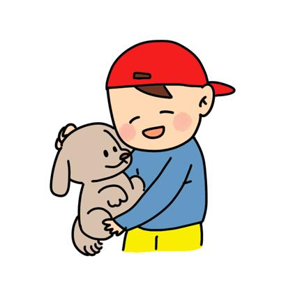 犬を抱っこしている子供のイラスト