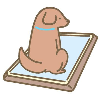 トイレトレーにおしっこをする仔犬のイラスト