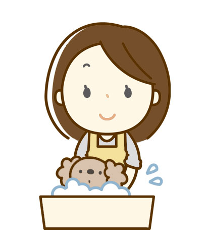 仔犬を、自宅でシャンプーしている飼い主のイラスト