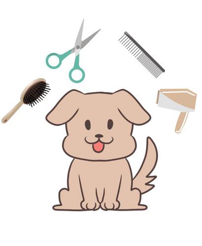 仔犬とトリミング道具のイラスト