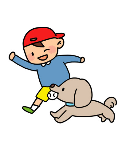 犬と外で遊ぶ子供のイラスト
