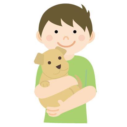 仔犬を抱っこする男性のイラスト