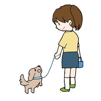 正しい散歩をしている飼い主と犬のイラスト