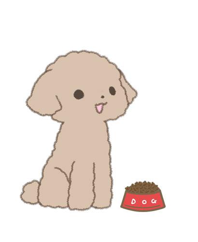 フードの入った食器の前のお座りする仔犬のイラスト