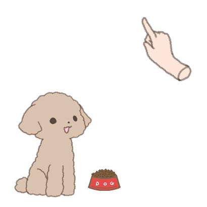 フードの入った食器を前に座る仔犬にハンドシグナルを出すイラスト
