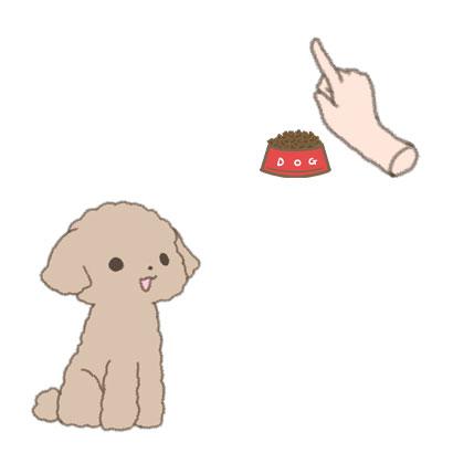 高い位置に持った食器を見る仔犬のイラスト