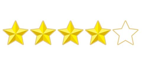 5つ星中の4つ星が光るイラスト