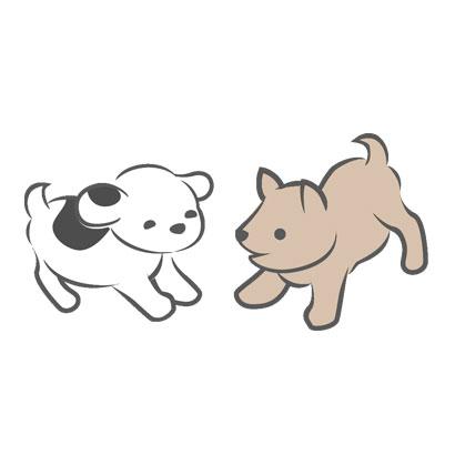 仔犬が2頭遊ぶイラスト