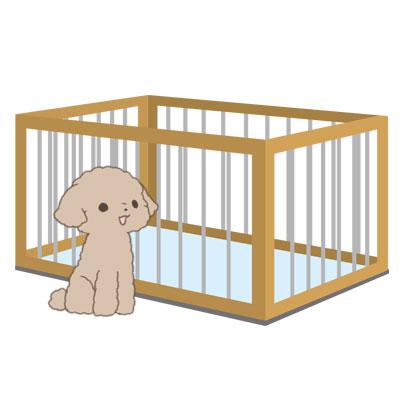 ペットサークルと仔犬のイラスト