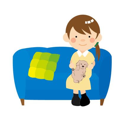 ソファに座り、膝の上で仔犬を抱っこする飼い主のイラスト