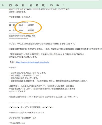 査定金額が明記された「ブックサプライ」の査定完了メールの画像